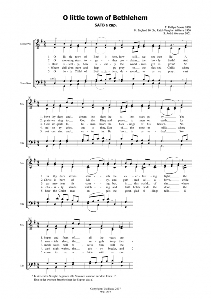 A little town of Bethlehem - SATB